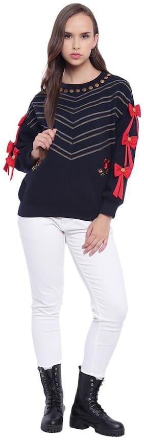Texco Women Embroidered Sweatshirt - Navy