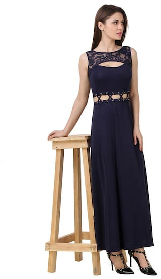 detailing tie dress evening lace with neck navy cut out up Texco waist crew vpx4Cqwn0T