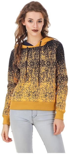 Texco Navy & Mustard Scattered dott printed hooded Sweatshirt