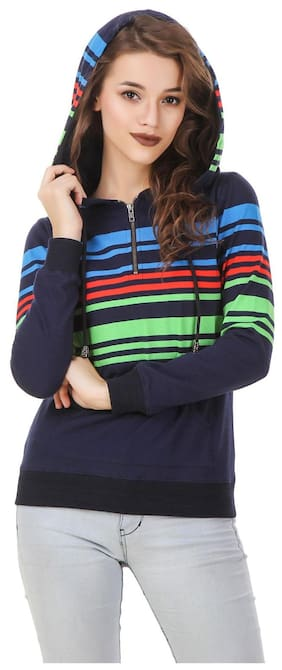 Texco Women Striped Hoodie - Blue