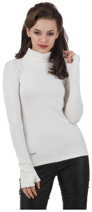 Texco Women Solid Sweatshirt - White