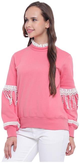 Texco Women Solid Sweatshirt - Pink