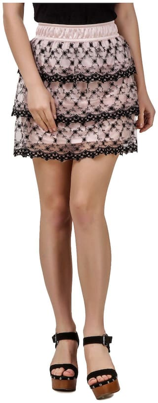 Texco Pink Lace Tiered Mini Skirt
