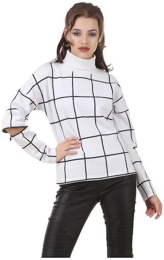 Texco Women Checked Sweatshirt - White