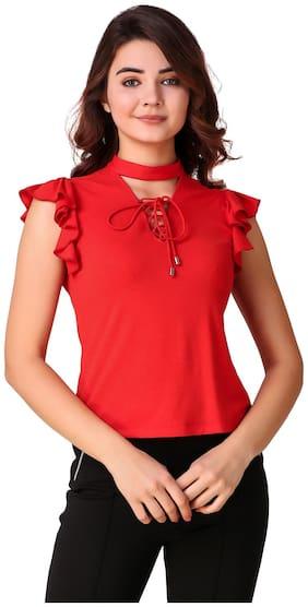 Texco Women Viscose Solid - Regular Top Red