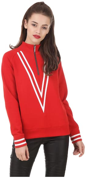 Texco Red Hi-Fashion Mock Neck Sporty Casual look Winter Sweatshirt