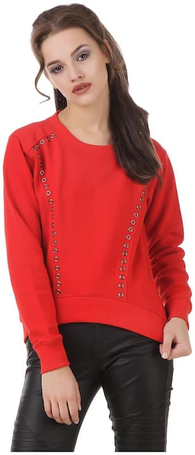 Texco Red high low studs detailing winter Sweatshirt