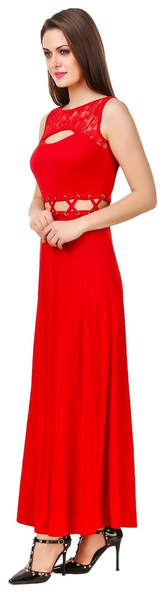 Detailing Waist Evening Cut Red Crew Tie Neck Up Lace Texco With Dress Out qHzFv