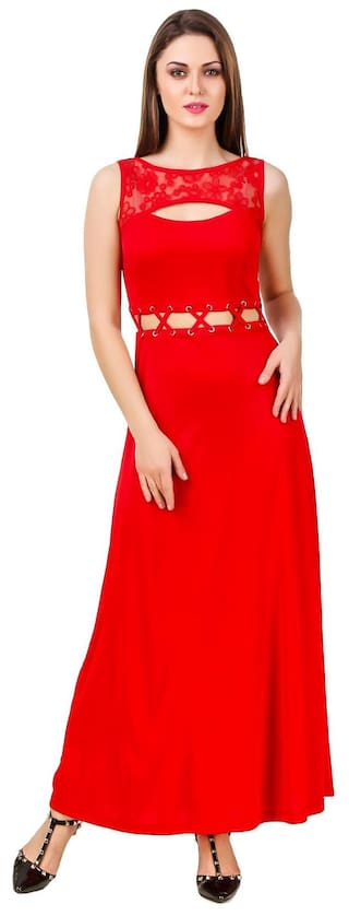 Texco Red Lace Cut Out Crew Neck With Tie Up Waist Detailing Evening Dress