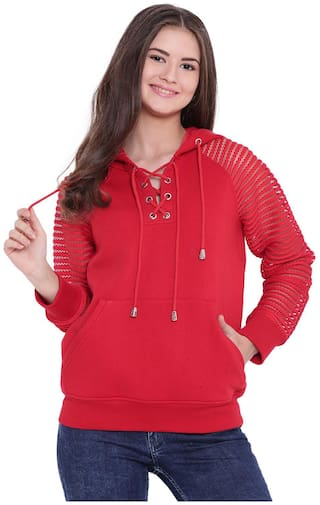 Texco Women Solid Sweatshirt - Red