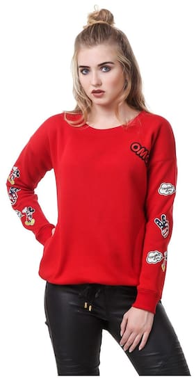 Texco Red Patched Detailed Winter Pullover