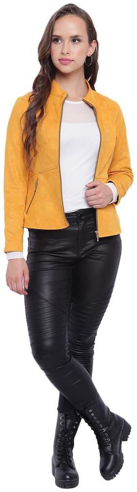 Texco Turmeric Yellow Suede Designer Peplum Jacket For Women