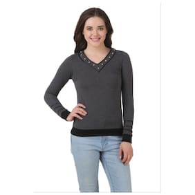 TEXCO WINTER GREY STRUDDED V-NECK SWEAT SHIRT