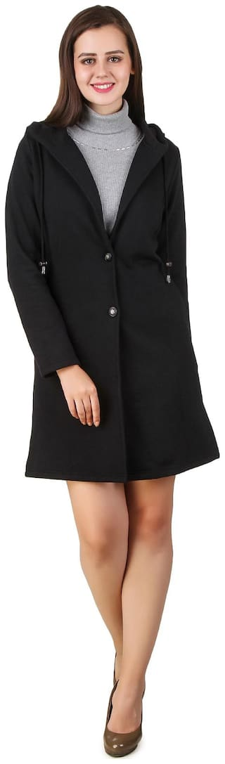 Texco Women Solid Regular FIt Coat - Black