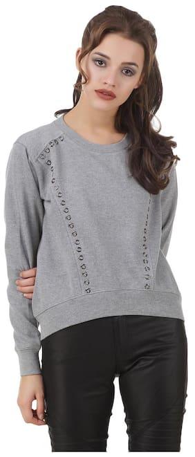 Texco winter Grey high low studs detailing Sweatshirt