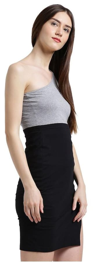 Dress black Women Color amp; Bodycon block Texco Grey tw1qnf0CCB