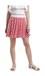 Texco Women Red & White Striped Short Flared Skirt