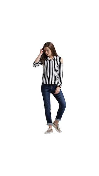 White Sleeves Full Black Texco amp; Shirt Cold Striped Women Shoulder w8AHt