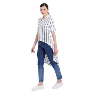 Texco Shirt And Collar Stripe Women Black White Spread 7Pp0Aq7r