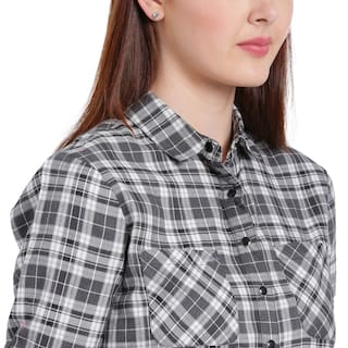 Spread And white Grey Collar Shirt Check Texco Women nSWBII
