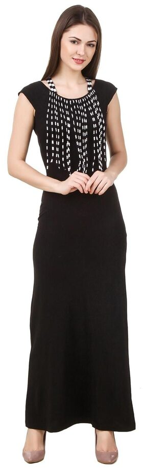 Texco women's black fringed detailed summer maxi dress