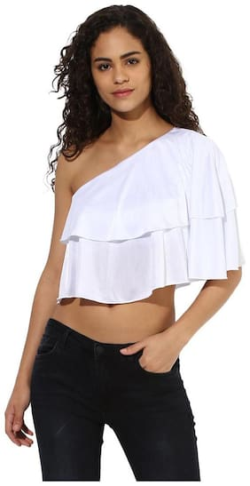 Texco  women's one off shoulder white ruffled crop top