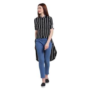 Texco Women Black And White Spread Collar Stripe Shirt