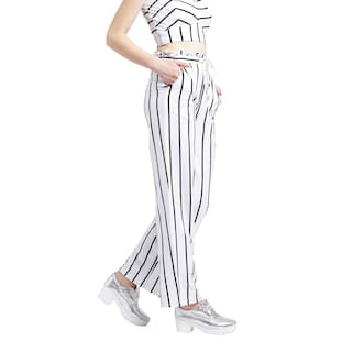 and Women Trousers White length Texco black jersey Cotton Ankle ZEqxd