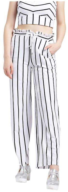 Texco Women Regular Fit High Rise Solid Pants - White