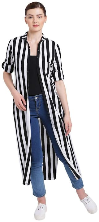 Texco Women Black And White High Round Collar Stripe Shrug