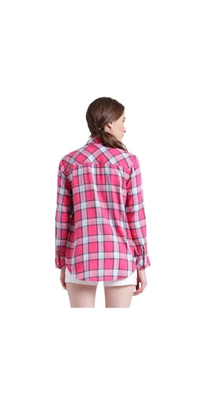 Texco amp; Checks Roll Women sleeve up Spread Pink Cotton Shirt White Collar 7q7rCw