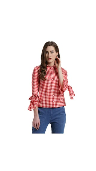 Texco Women Red Gingham Checkered Ruffled Sleeves Top