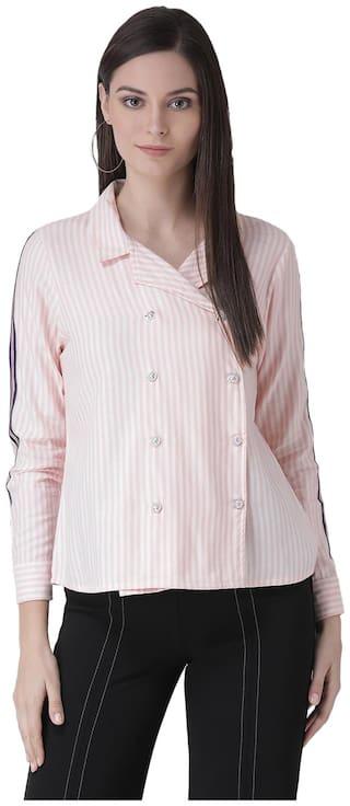 Texco Women Pink & White Striped Regular Fit Shirt
