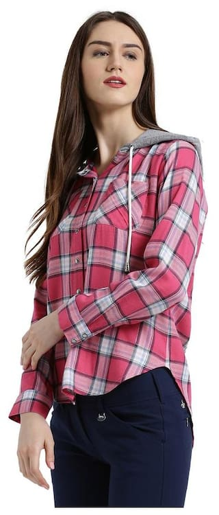 Checked amp; Shirt Boxy Women Texco grey Pink xvwq8wfI