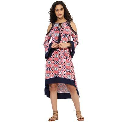 Texco women's multicolour cutout shoulder boho dress