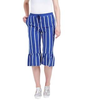 Length Women Blue jersey Cotton Culottes Calf Texco and white aBw4wRPq