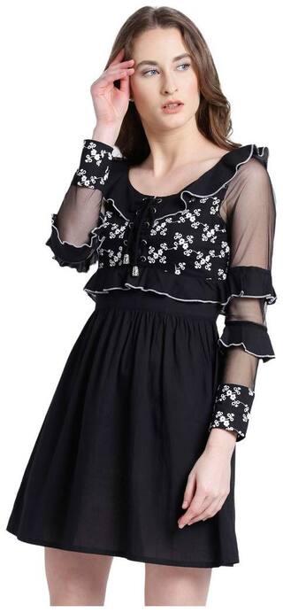 Texco Black Solid A-line dress