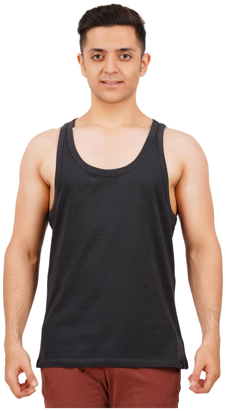 TEXMAN 1 Sleeveless Scoop Neck Men Vest   Black by Tex Man