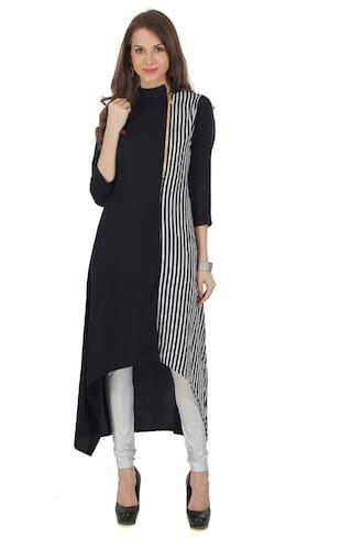e24681760 Buy The Bebo Black Pure Crepe Straight Elegant Women Kurti Online at ...