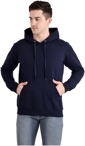 The Bonte Poly Cotton Solid Full Sleeves Hoodie For Men (Navy Blue)