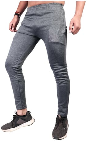 THE CHAMBAL - Custom Lifestyle Men Cotton blend & Knitted Track Pants - Grey & Blue