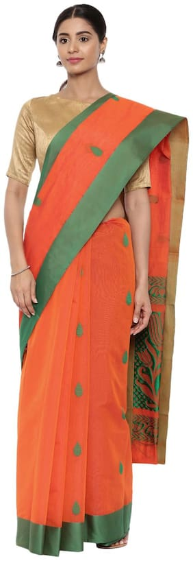 The Chennai Silks Blended Universal Zari work Saree - Orange , With blouse