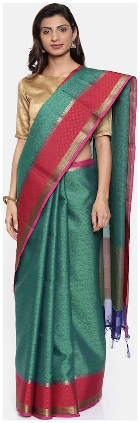 The Chennai Silks Organza Banarasi Zari work Saree - Green , With blouse