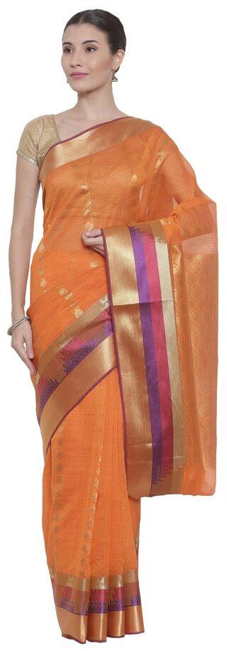 The Chennai Silks Blended Bangalori Zari Work Saree - Red