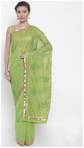 The Chennai Silks Cotton Chanderi Zari work Saree - Green , With blouse