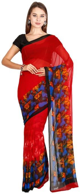 The Chennai Silks - Faux Georgette Saree - Aurora Red - (CCMYSY7047)