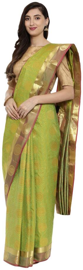 The Chennai Silks Silk Universal Zari work Saree - Green , With blouse