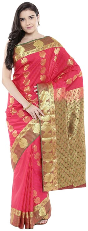 The Chennai Silks - Handloom Pure Kanjivaram Silk Saree - Bright Rose - (CCOPSS10117)