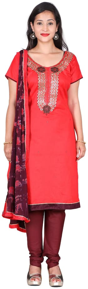 The Chennai Silks - Embellished Cotton Dress Material - Pink - (CDMCT1123)