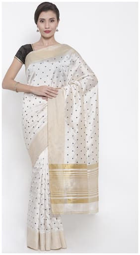 The Chennai Silks Blended Tussar embroidered work Saree White